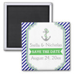 Navy blue, green nautical wedding Save the Date Square Magnet
