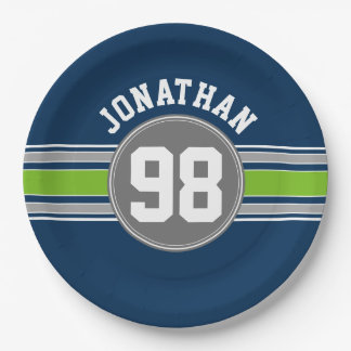 Navy blue Green Sports Jersey Stripes Name Number 9 Inch Paper Plate