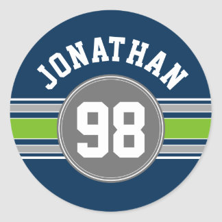 Navy blue Green Sports Jersey Stripes Name Number Round Sticker