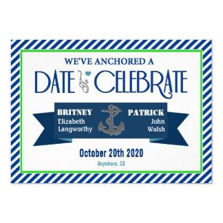 Navy Blue Green White Nautical Wedding Invitations