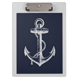 Navy Blue & Grey Anchor Clipboard