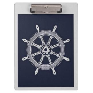 Navy Blue & Grey Ship Wheel Clipboard