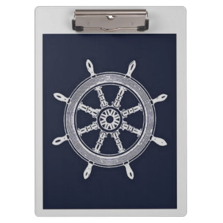 Navy Blue & Grey Ship Wheel Clipboards