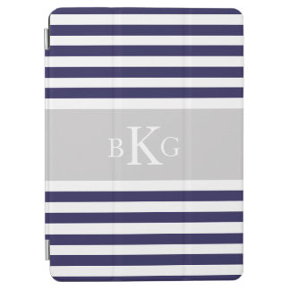 Navy Blue Grey Stripes Custom Monogram iPad Air Cover