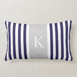 Navy Blue Grey Stripes Monogram Lumbar Cushion