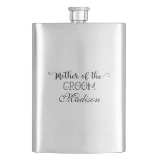Navy Blue Hand Lettered Fun Mother of the Groom Hip Flask