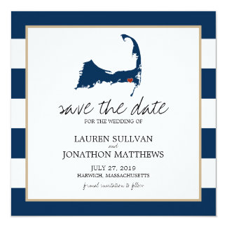 Navy Blue Harwich Cape Cod Map Save the Date 13 Cm X 13 Cm Square Invitation Card