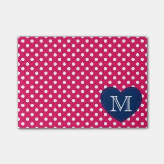 Navy Blue Heart and Raspberry Polka Dot Monogram Post-it Notes