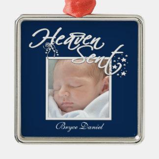 Navy Blue Heaven Sent Baby Boy Photo Ornament