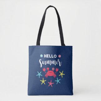 Navy Blue Hello Summer Happy Crab Tote Bag
