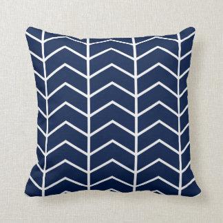 Navy Blue Herringbone Chevron Throw Pillow