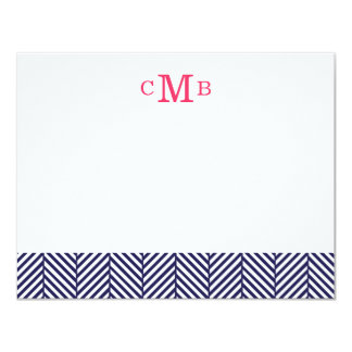 Navy Blue Herringbone Custom Monogram Stationery Card
