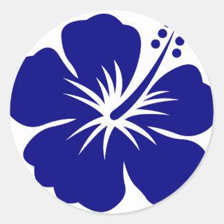 Navy blue hibiscus classic round sticker