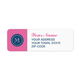 Navy Blue, Hot Pink Chevron Pattern, Your Monogram Return Address Label