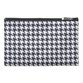 Navy Blue Houndstooth Travel Accessory Bags
