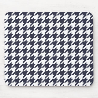 Navy Blue Houndstooth Mouse Mat
