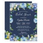 Navy Blue Hydrangea Floral Gorgeous Bridal Shower Card