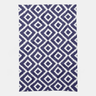 Navy Blue Ikat Diamonds Tea Towel