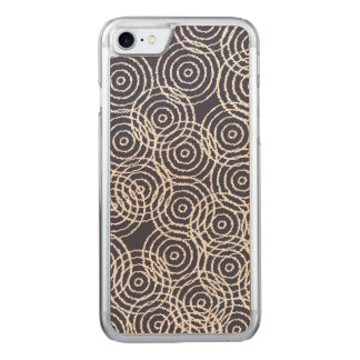 Navy Blue Ikat Overlap Circles Geometric Pattern Carved iPhone 8/7 Case
