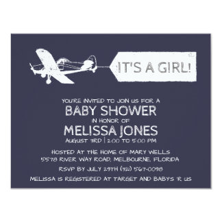 Navy Blue It's A Girl Aeroplane Banner Baby Card