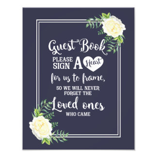 Navy blue Ivory Chic Rose wedding Guestbook heart Photo