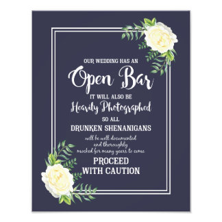 Navy blue Ivory chic Rose wedding party OPEN BAR Photo Print