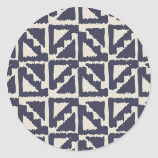 Navy Blue Ivory Tribal Print Ikat Triangle Pattern Classic Round Sticker