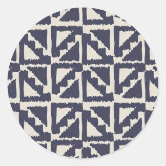 Navy Blue Ivory Tribal Print Ikat Triangle Pattern Round Sticker