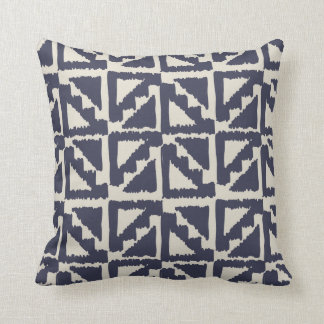 Navy Blue Ivory Tribal Print Ikat Triangle Pattern Throw Pillow