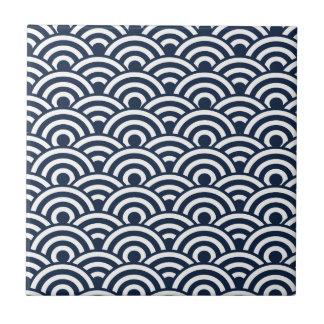 Navy Blue Japanese Wave Pattern Tile