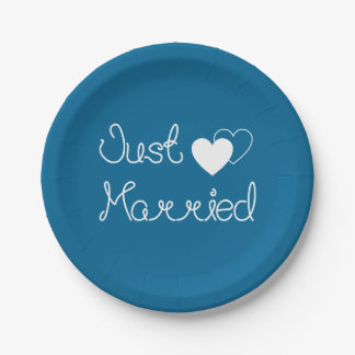 Navy Blue Just Married With White Hearts Wedding Paper Plate