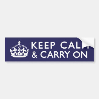 Navy Blue Keep Calm and Carry On Bumper Stickers