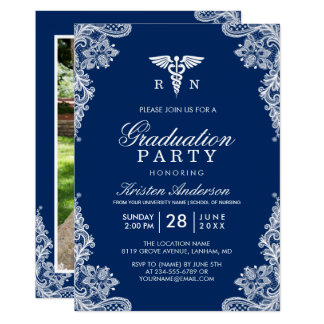 Navy Blue Lace Nursing School Graduation Party Card