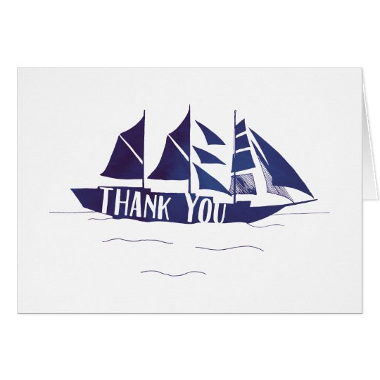 Navy Blue Large Ship Sail Boat Thank You