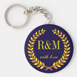 Navy Blue Laurel Wreath Monogram Wedding Keychain