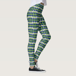 Navy Blue Leaf Green Grey Diamond Pattern Leggings