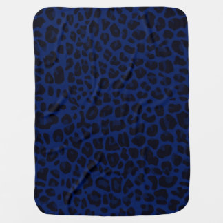 Navy blue leopard print baby blanket