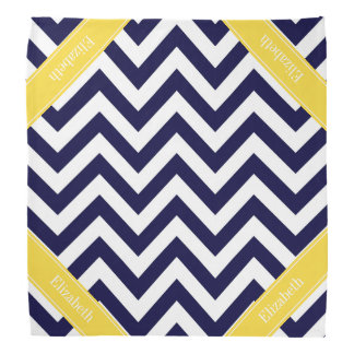 Navy Blue Lg Chevron Pineapple Name Monogram Bandana