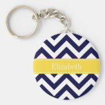 Navy Blue Lg Chevron Pineapple Name Monogram Basic Round Button Key Ring