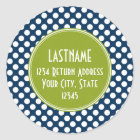 Navy Blue & Lime Green Polka Dots Custom Monogram Classic Round Sticker