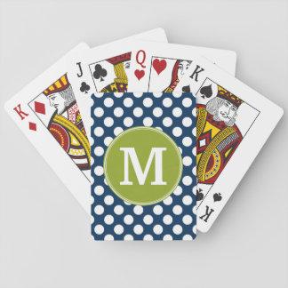 Navy Blue & Lime Green Polka Dots Custom Monogram Playing Cards
