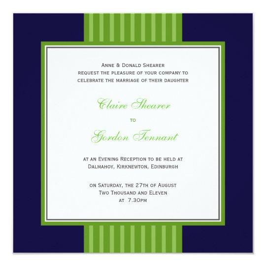 Navy Blue Lime Green Wedding Invitation Zazzle Co Uk