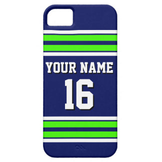 Navy Blue Lime Grn Team Jersey Custom Number Name Barely There iPhone 5 Case