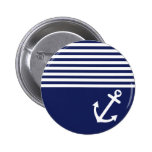 Navy Blue Love Anchor Nautical 6 Cm Round Badge