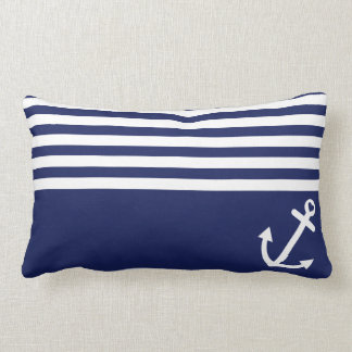 Navy Blue Love Anchor Nautical Lumbar Cushion
