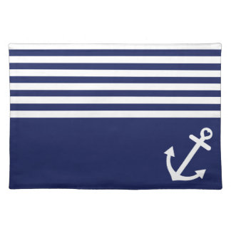 Navy Blue Love Anchor Nautical Placemat