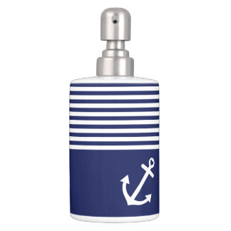 Navy Blue Love Anchor Nautical Toothbrush Holder
