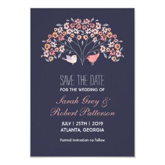 Navy Blue Love Birds Flower Wedding Save The Date 9 Cm X 13 Cm Invitation Card