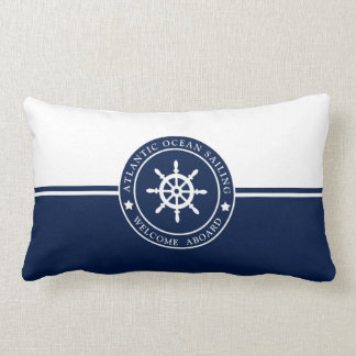 Navy Blue Lumbar Pillow with Ships Wheel Label
