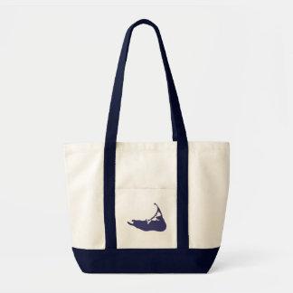 Navy Blue Map of Nantucket Island, Massachusetts Tote Bag